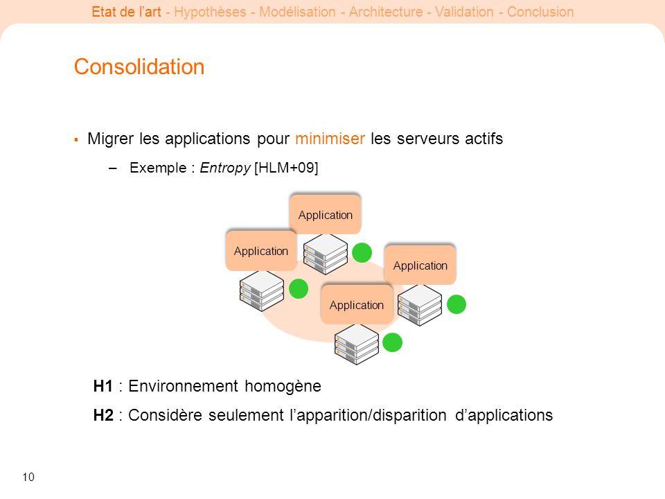 Consolidation Migrer les applications pour minimiser les serveurs actifs. Exemple : Entropy [HLM+09]
